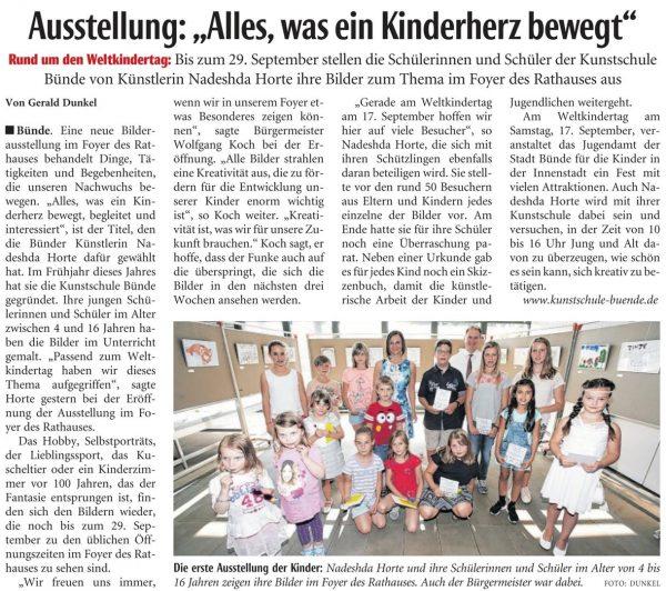 Pressebericht der NW Bünde über die Ausstellung am 09.09.2017