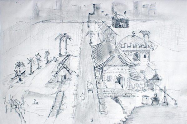 Stadtansicht in der Ein Punkt Perspektive